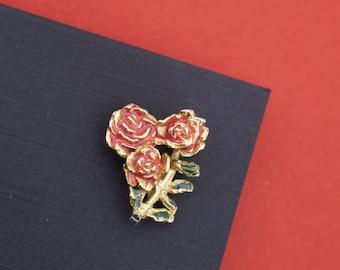 Vintage 1980's 3 Pink Rose Design Goldtone & Enamel Brooch- Pin Back Style!