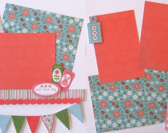 Scrapbooking Kit Premade Pages Layout Spring Day Joy Happy 2 Pages