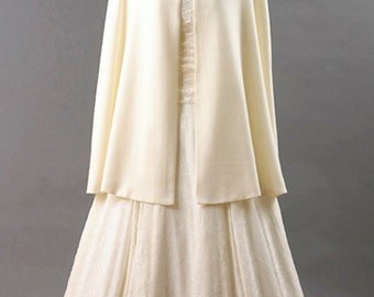 Ivory Short Cloak with Hood made in Wool and lined in Satin - Custom Made - Great for Weddings