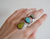 RESERVED- Turquoise Cave Statement Ring- size 7 - 7.25