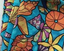 Napkins, Fabric Napkins, Cloth Napkins, Dinner Table Chic, Blue, Lavender, Orange, Seashells, Nautical, Summertime Napkins, Cotton, Colorful