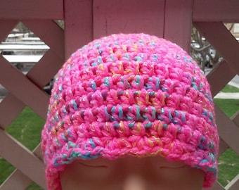 Childs Hat / Beanie / Flapper style Beanie / Hot Pink Beanie / Crochet Beanie