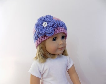 Doll Hat, 18 Inch Doll Clothes, Striped Doll Hat, Purple Doll Beanie