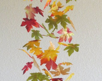 Whimsical Mobile Autumn Leaves Falling Maple Leaf Dangling Modern Made to Order LONG