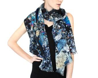 Meteorite Section Wool Scarf, Printed Shawl.