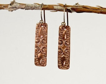 Copper Marquise Rectangles, Textural Swirls, Handcrafted Copper Clay, Copper Earrings
