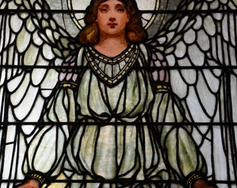 White Angel - Fine Art Canvas Print of Antique Stained Glass Window