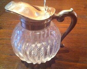 American Brilliant Period Cut Glass and Sterling Silver Cream Pitcher, R. Blackington Co. North Attleboro MA Sterling Silver, 1900 Silver