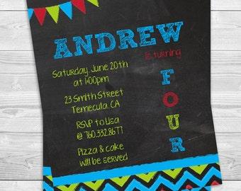 Birthday Boy Chalk Inspired - Birthday Party Invitation Professionally printed *or* DIY printable PDF