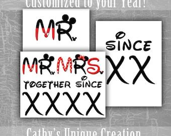 DIY Disney Couple Shirts, Mr and Mrs Mickey Minnie Mouse, Together Since, Disneyland, World, Anniversary Shirt, Disneymoon, Cruise, Download