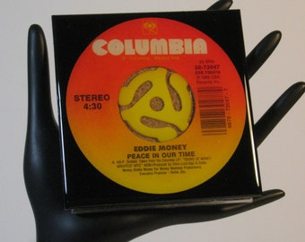 Eddie Money - Very Cool Drink Coaster Made with The Original 45 rpm Record
