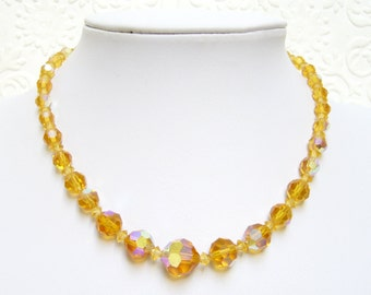"""Vintage Yellow AB Topaz Glass Faceted Graduated Bead Necklace 15"""""""