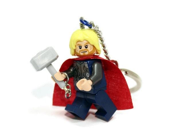thor keychain made from superhero lego thor minifig