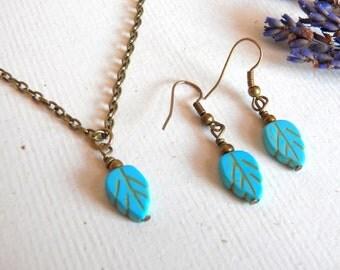 Vintage Style Leaf Necklace Set, Earrings and Necklace, Matching Set, Turquoise Leaves, Antique Brass Chain, Handmade Jewelry by HoneyNest