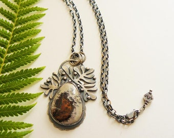 Woodlands pendant - flower jasper necklace - handmade sterling necklace - botanical - nature pendant - artisan crafted