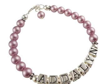 Customizable bracelet for girls - color /name/ size options to choose. Best selection of colors/gift.