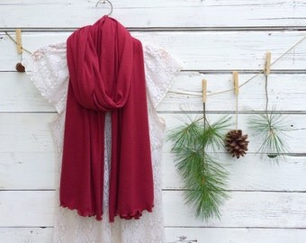 Cranberry Red Scarf, Jersey Scarf, Long Scarf, Bridesmaid Gift, Wrap, Shawl, Oversized Scarf, Fall Scarf, Winter Scarf, Jannysgirl