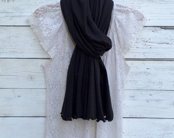 Black Scarf, Wrap, Shawl, Long Black Scarf, Black Jersey Knit Scarf, Winter Scarf, Winter Accessories, Oversized, Gift For Her, Jannysgirl