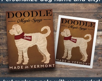 Doodle Goldendoodle Labradoodle Maple Syrup FREE CUSTOMIZATION  Sign Print or Canvas