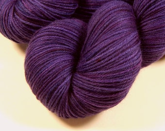 Hand Dyed Sock Yarn - Sock Weight Superwash MCN (Merino Wool / Cashmere / Nylon) Yarn - Blackberry Tonal - Knitting Yarn, Wool Yarn, Purple
