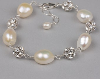 Sterling Silver, Baroque Pearl and Rhinestone Wedding Bracelet, Hand linked pearl and rhinestone bridal jewelry, Couture wedding jewelry