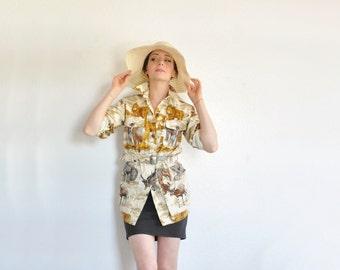 safari jungle print canvas shirt . A&F heart of darkness button up top .medium .sale