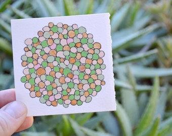 "tiny original abstract art: ""peacock orb,"" original mixed-media painting"