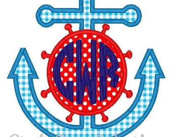 Anchor Monogram Machine Embroidery Applique Design