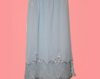 Vintage Slip 60s Light Blue Pin Up Slip with Lace and Satin Applique S M - on sale