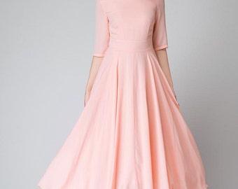 peach dress, pink dress, bridesmaid dress, chiffon dress, half sleeve dress, maxi dress, wedding guest dress, prom dress, party dress 1524