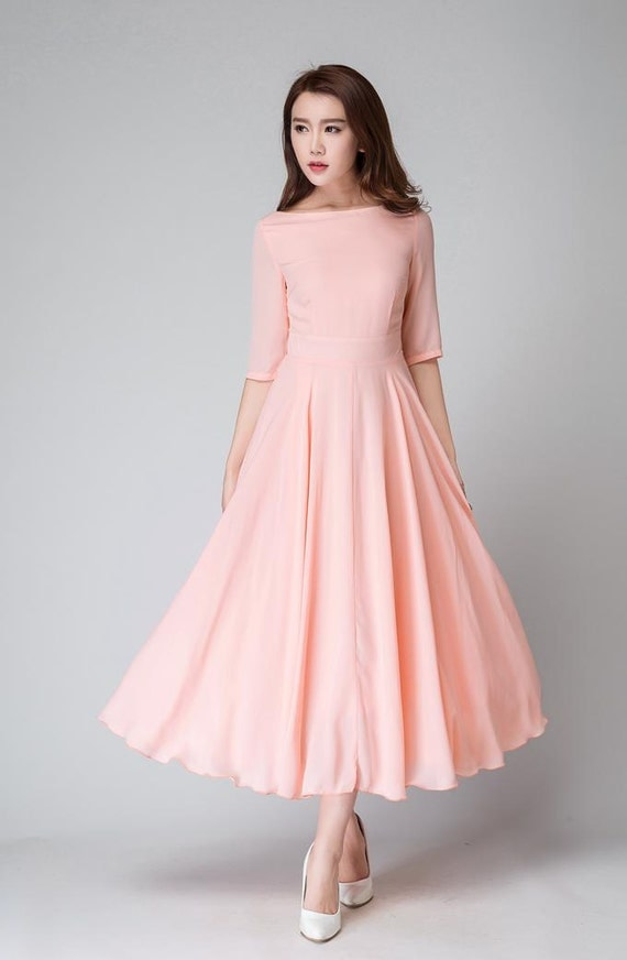 Peach Dress Pink Dress Bridesmaid Dress Chiffon Dress Half