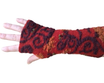 Red Arm Warmers, Fingerless Gloves,  Wrist Warmers, Wool Fingerless Mittens, Wool Fingerless Gloves, Gauntlets