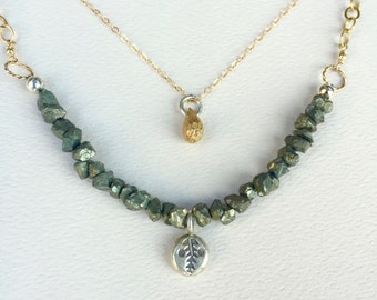 Pyrite Silver Gold Necklace / Hekate Necklace