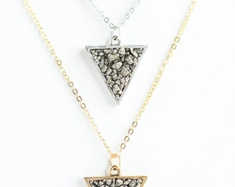 Triangle Pyrite Necklace | Silver Plated | Gold Plated | N31603-S,G