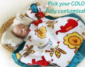 Elephant Security Blanket, Lovey Blanket, Satin Baby Blanket, Stuffed Animal, Baby Toy, Jungle animal blanket - Customize Color