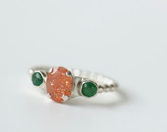 Emerald and sunstone ring, three gemstone ring sterling silver size 7. One of a kind ring.