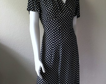 Vintage Women's 90's DKNY Dress, Navy Blue, Polka Dot, Short Sleeve (M/L)