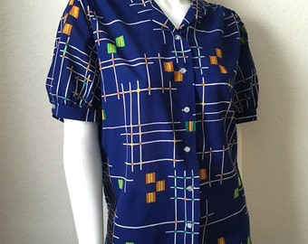 Vintage Women's 80's Blue Blouse, Polyester, Short Sleeve, Geometric (XL)