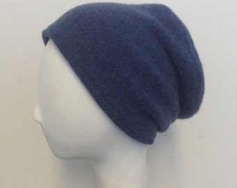 Pure Cashmere Rollup hat, slouch beanie, denim blue, unisex.  FREE SHIPPING in the US