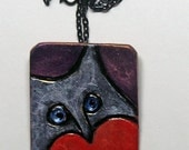 Heart Jewelry. Valentine Cat Jewelry, Silver Cat Brooch-Pendant  Polymer Clay, Polished black Chain.