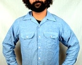 Great Quilted Chambray Denim Pearl Snap Western Shirt
