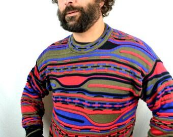 RAD Vintage Rainbow Striped Winter Cozy Head Geometric Sweater