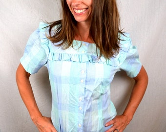 Vintage 80s Button Up Plaid Ruffled Country Top Shirt