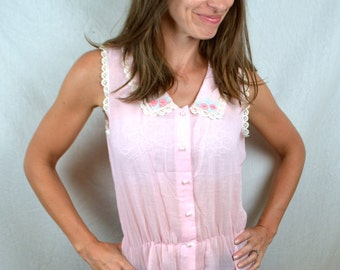 Vintage Pink 80s Cute Summer Peplum Button Up Top