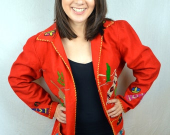 Mexican Vintage Hand Embroidered Wool Red Shirt Jacket