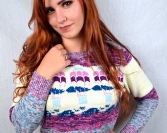 Amazing Vintage 1980s Hot Air Balloon Knit Sweater