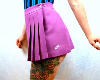 Vintage 1980s 80s Purple Super Short NIKE Blue Tag Pleated Sporty Tennis Skirt