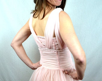 Vintage 1950s 50s Tulle Chiffon Bombshell Sweetheart Pink Party Dress