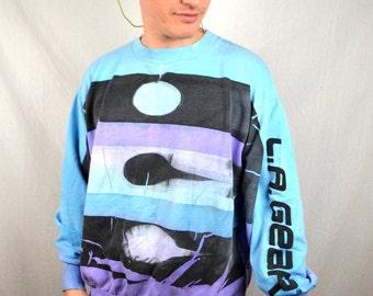 Vintage 80s LA Gear Blue Purple Faded 1980s Sweatshirt