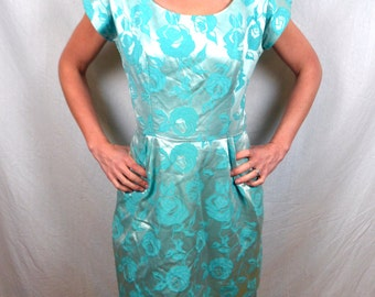 Lovely Vintage 1950s 50s Brocade Formal Blue Party Dress